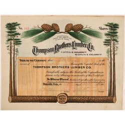 Thompson Brothers Lumber Co Stock Certificate, Doucette, TX. 1909  (111335)