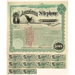 American Telephone Company Bond Certificate, 1889  (111395)