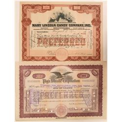 Pig'n Whistle (#1) and Mary Lincoln Candy Stock Certificates   (110915)