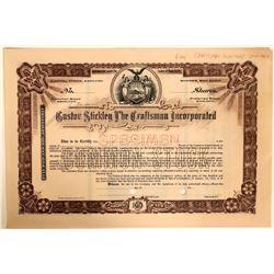 Rare Gustav Stickley, The Craftsman Specimen Stock Certificate  (110912)
