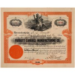 Parrott Carriage Manufacturing Co. Stock Certificate  (107759)