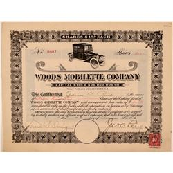 Woods Mobilette Company Stock Certificate  (107782)