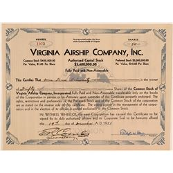 Virginia Airship Company stock certificate  (112235)