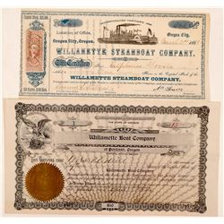 Two Different Willamette Steamer Stock Certificates  (107829)