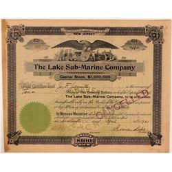 Lake Sub-Marine Company Stock Certificate  (107756)