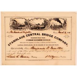 Stanislaus Central Bridge Company Stock Certificate (Gold Rush)  (107760)