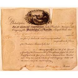 Philadelphia & Lancaster Turnpike Road Stock Certificate  (107801)