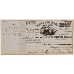 Philadelphia & West Chester Turnpike Road Co Stock, 1871  (111337)