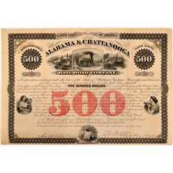 Alabama & Chattanooga Rail Road Co $500 Bond, 1871  (111159)