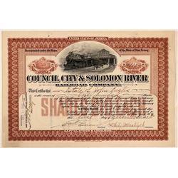 Council City & Solomon River Railroad Co Stock Certificate, Alaska, 1905  (111191)