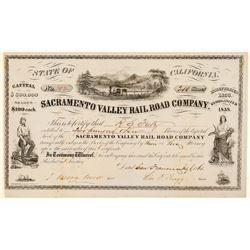 Sacramento Valley Rail Road Co Stock Certificate, 1861, Rare  (111403)
