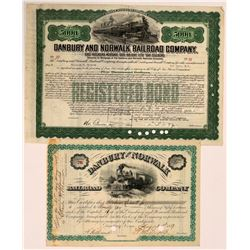 Danbury and Norwalk Railroad Company Stock, 1887 and Bond from 1939  (111022)