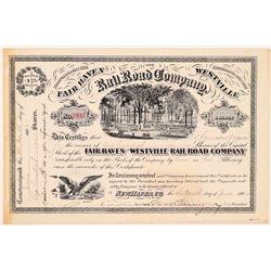 Fair Haven & Westville Rail Road Co Stock Certificate, 1902  (111302)
