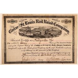 Cairo & St. Louis Rail Road Co Stock, 1880  (111257)