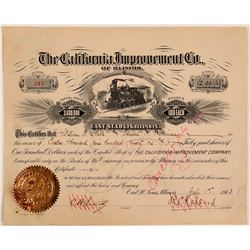 California Improvement Co. Stock Issued to W.A. Clark & Edward H. Harriman (Endorsed by Clark)  (111