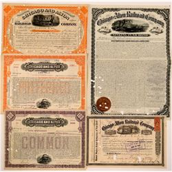 Chicago & Alton Railroad Co Stocks and Bonds (5)  (111122)