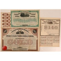 Chicago & Canada Southern Railway Co Stock and Two Bonds  (111278)