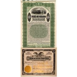 Chicago & Interurban Traction Company Stock and Bond Certificates, 1912, Rare  (111121)