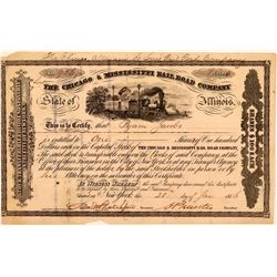 Chicago & Mississippi Rail Road Co Stock Certificate, 1856  (111132)