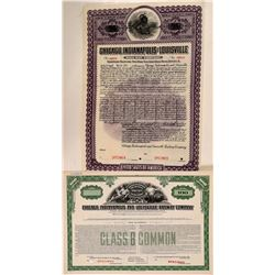 Chicago, Indianapolis & Louisville Railway Co Specimens (2), Bond & Stock  (111117)