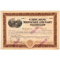 Chicago, Milwaukee & Gary Rail Road Co Stock Certificate #1  (111100)