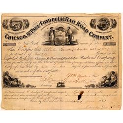 Chicago, St. Paul & Fond Du Lac Rail Road Co Stock Certificate, 1855- Rare  (111130)
