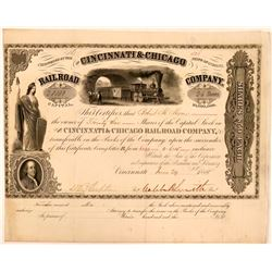 Cincinnati & Chicago Railroad Co Stock Certificate, 1855  (111142)