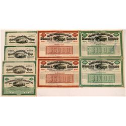 Cincinnati, Indianapolis, St. Louis & Chicago Railway Co Bonds and Stocks (8)  (111288)