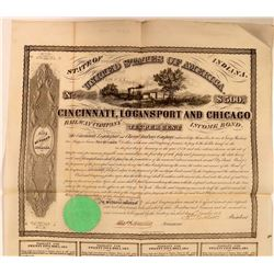 Cincinnati, Logansport & Chicago Railway Co Bond, 1853  (111094)