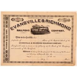 Evansville & Richmond Railroad Co Stock, Unissued But Previously Unknown  (111193)