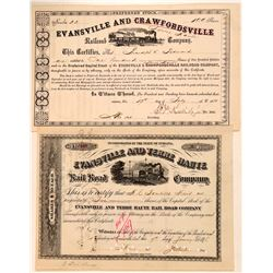 Evansville & Terre Haute Railroad Company (2) Certificates, Common & Preferred  (111085)