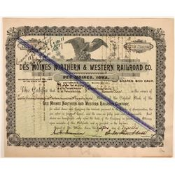 Des Moines Northern & Western Railroad Co. Stock Cert. #1, 1895, Signed by G.M. Dodge  (110303)