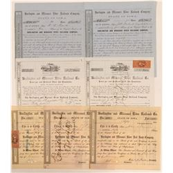 Burlington & Missouri River Railroad Co Stock Group (7)  (111111)