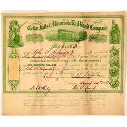 Cedar Falls & Minnesota Rail Road Co Stock Certificate, 1868  (111063)