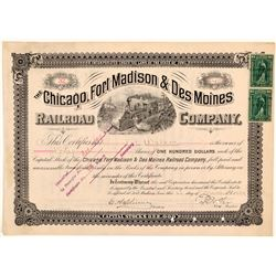 Chicago, Fort Madison & Des Moines Railroad Co Stock Certificate, 1899  (111114)