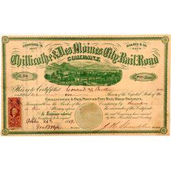 Chillicothe & Des Moines City Rail Road Co Stock Certificate, 1869- Rare  (111124)