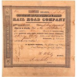 Clinton & Port Hudson Rail Road Co Stock Certificate, 1856, Rare  (111145)