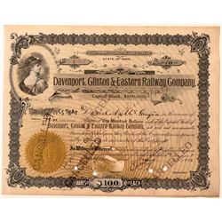 Davenport, Clinton & Eastern Railway Company Stock Certificate #1  (111048)