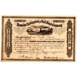 Demoine Navigation & Rail Road Company Stock Certificate, 1855  (111045)
