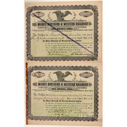 Des Moines Northern & Western Railroad Co Stocks (2), 1895 and 1899  (111239)