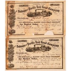 Dubuque & Pacific Rail Road Co Stocks (2), 1856 and 1859  (111241)