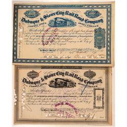 Dubuque & Sioux City Rail Road Company Stocks (2)  (111051)