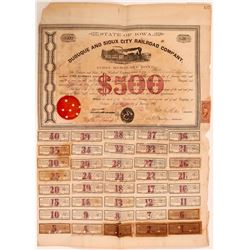 Dubuque and Sioux City Railroad Company, $500 Bond, 1863  (111018)