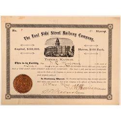 East Side Street Railway Co Stock Certificate, Kansas, 1888- Unknown  (111264)