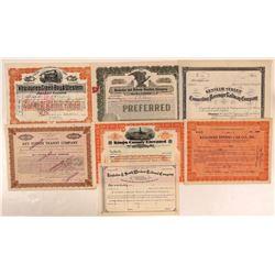 Kansas, New Jersey, Illinois RR stocks certificates.  (112023)
