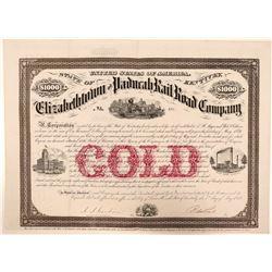 Elizabethtown & Paducah Rail Road Co Gold Bond, 1873  (111059)