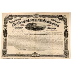 The Chesapeake Ohio & Southwestern Railroad Co Bond, Signed by C.P. Huntington  (111261)