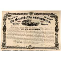 The Chesapeake Ohio & Southwestern Railroad Co Bond, Signed by C.P. Huntington  (111261)