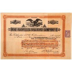 Avoyelles Railroad Company Stock Certificate #1   (111155)