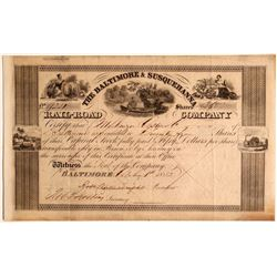 The Baltimore & Susquehanna Rail-Road (Rail Road) Co. Stock, 1852  (111050)